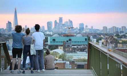 young people at Frank's Cafe, the roof-top bar in Peckham, south-east London.