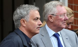 José Mourinho, left, with Sir Alex Ferguson at Old Trafford before Manchester United's game against Arsenal in late April.