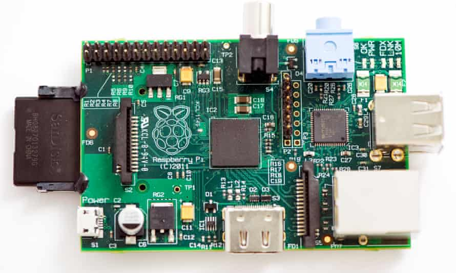 The Raspberry Pi computer, a series of circuits and USB sockets