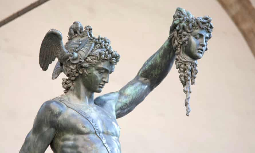 Perseus holding head of Medusa, a bronze statue created by Benvenuto Cellini in 1554 and exposed in Loggia de Lanzi, Florence.