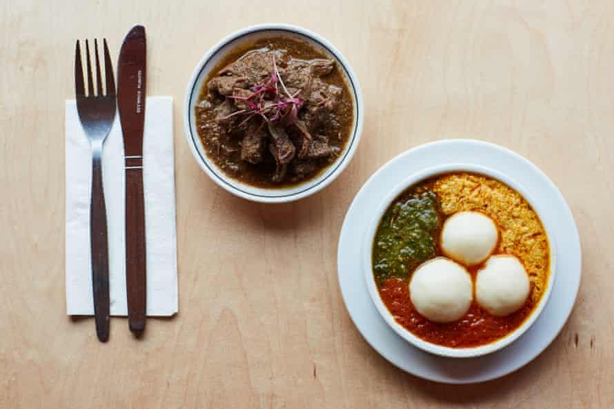 Beef ayamase stew and egusi melon seed soup, at Chuku's, Tottenham, London.