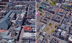 The geometric and traditional centres of Glasgow. A city map outside JD Sports (left) and George Square (right)