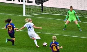 Ada Hegerberg of Olympique Lyonnais fires in their second.