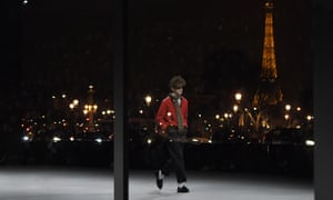 The Eiffel Tower set against the Celine menswear show on Sunday night.