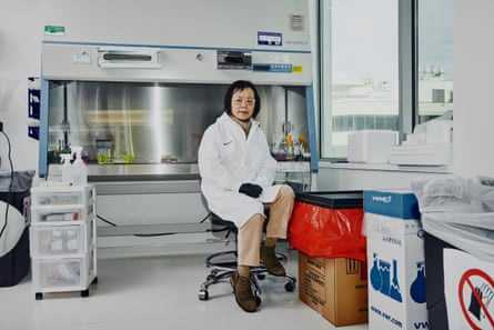 Wenning Qin, Director of Genome Engineering in her lab at eGenesis. eGenesis is a biotech that genetically engineers pigs so that their organs can be used for human transplant using CRISPR in Cambridge, Massachusetts.