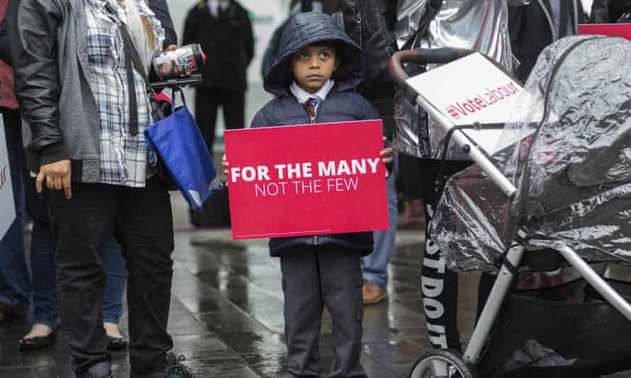 A young Labour supporter waiting to hear Jeremy Corbyn speak in 2017.