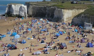 Botany Bay locals in Kent, UK, said the beach was overrun with groups of people ignoring social distancing measures.