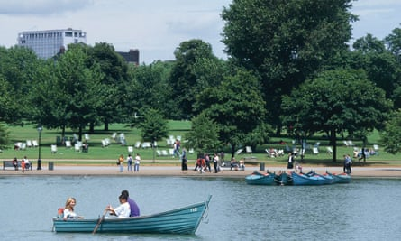 Boats on the Serpentine lake in Hyde Park