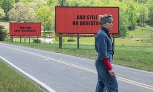'Uproarious delight of a film' … Frances McDormand in Three Billboards outside Ebbing, Missouri.