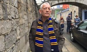 Derek McGuire, a formerly homeless guide, on a street tour of Dublin.