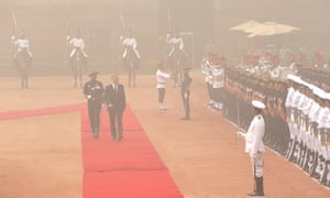 Belgium's King Philippe inspects a military guard of honour at the Indian presidential palace in Delhi on Tuesday.