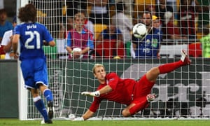 Italy's Andrea Pirlo scores a penalty against England in 2012.