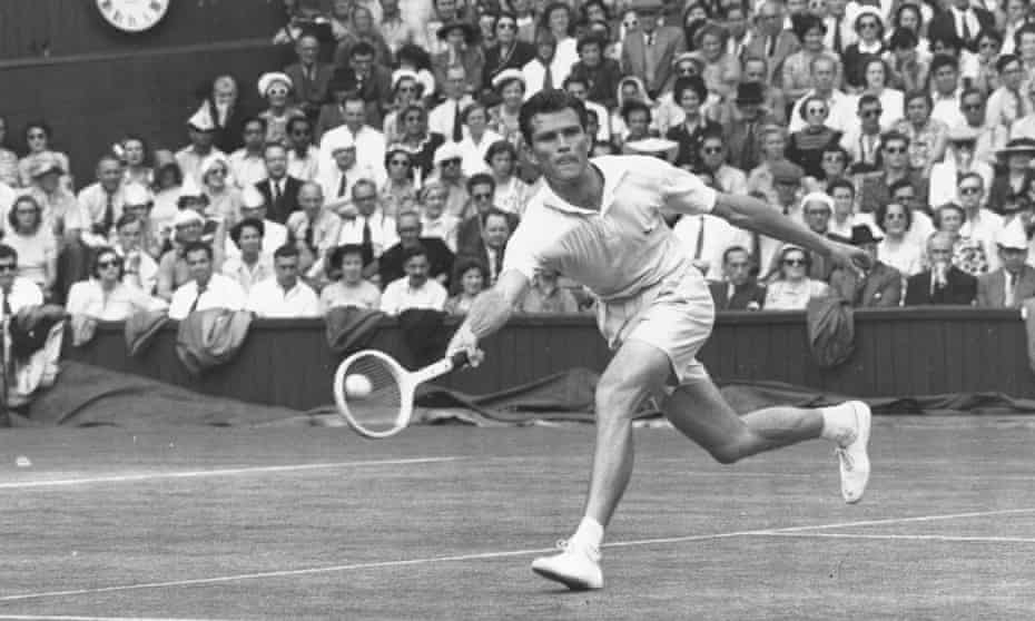 Budge Patty in action against Australia's Frank Sedgman on his way to winning the men's singles final at Wimbledon in 1950.
