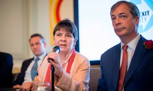 The Brexit party MEP candidate Claire Fox speaks alongside Nigel Farage