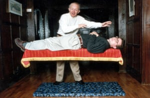 Paul Daniels carries out his magic at home on Jon Stock, 1994