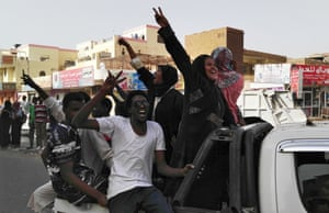 Sudanese crowds demanding the ousting of Bashir flood to the army headquarters chanting 'the regime has fallen'.