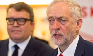 Labour deputy leader Tom Watson (left) and leader Jeremy Corbyn.