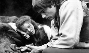 Anna Calder Marshall as Catherine Earnshaw and Timothy Dalton as Heathcliff in a 1970 film adaptation of Wuthering Heights.