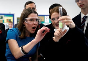 Leader of Britain's Liberal Democrats Jo Swinson in a science class at Hinchley Wood School during a General Election campaign visit. Esher, Surrey
