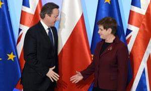 David Cameron and Beata Szydło shake hands in Warsaw