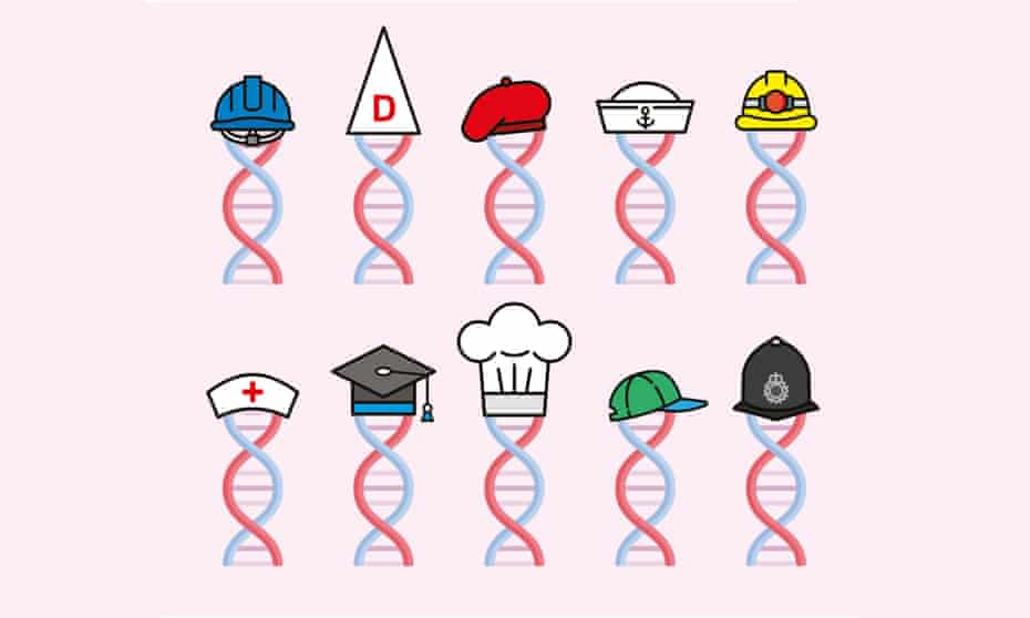 illustration of dna strands wearing different hats to denote professions and walks of life