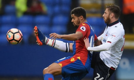 Crystal Palace hang on for goalless draw after Bolton's Josh Vela hits bar