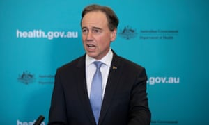 The health minister Greg Hunt speaks to reporters on Monday