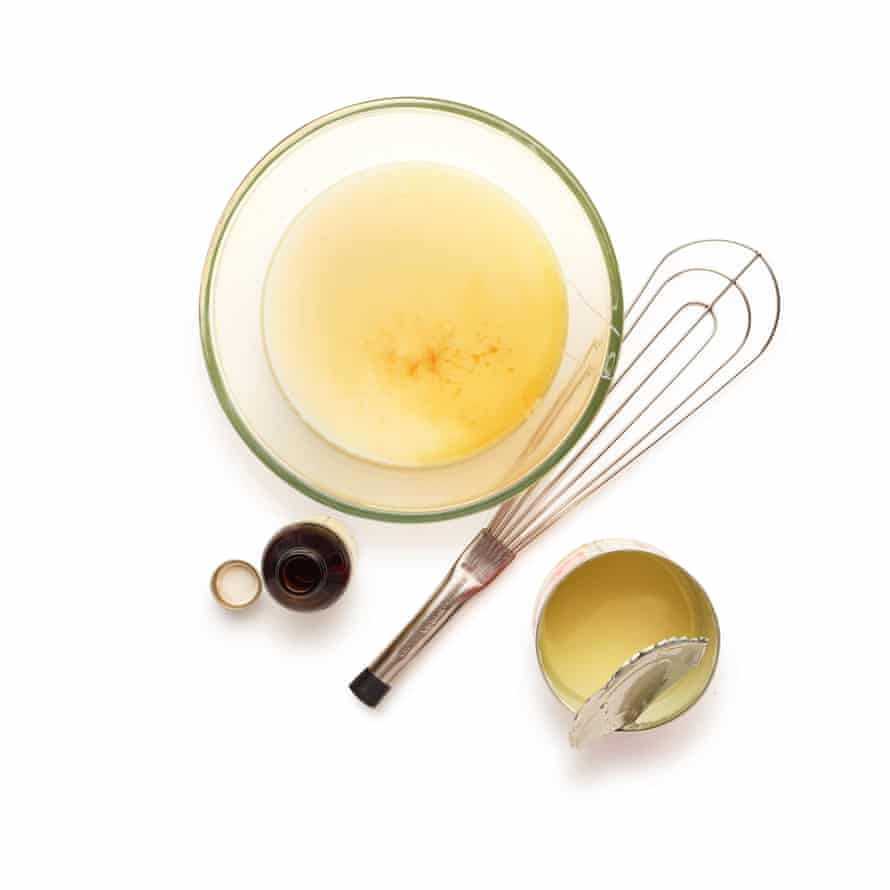 Whisk together condensed milk, booze, vanilla and a pinch of salt.