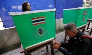 Thai electoral workers set up a polling station in Bangkok.
