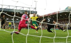 Norwich City's Teemu Pukki scores their third goal.