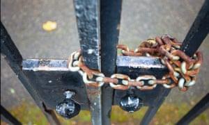 A locked gate.