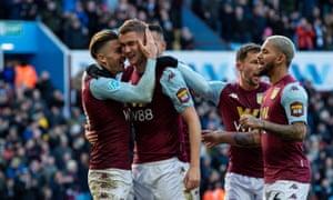 Aston Villa's Bjorn Engels celebrates scoring his side's second goal.
