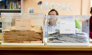 Envelopes with votes lay inside a ballot box at a polling station during the Spanish general election on April 28, 2019 in La Navata , Spain.