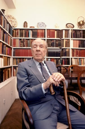 A long way from Babel … Jorge Luis Borges at home in Buenos Aires in 1983.