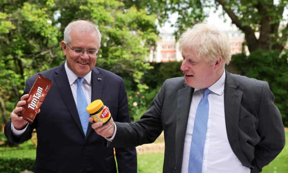 'Flabby chorus singers supporting the main turn':  Australian prime minister Scott Morrison and Boris Johnson have joined forces with the US in the Aukus strategic defence pact