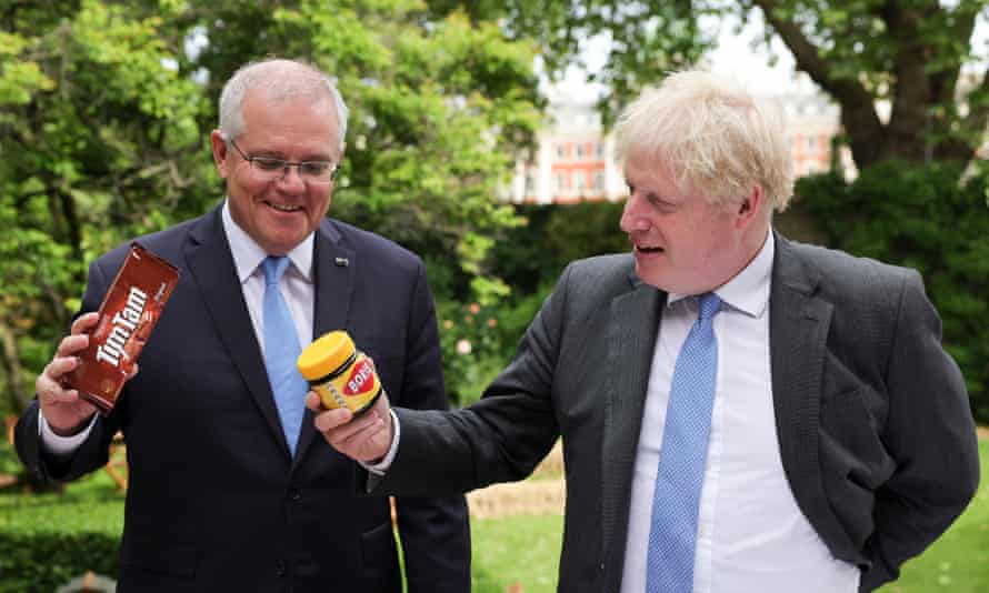 Boris Johnson with Australia's prime minister Scott Morrison in the garden of No 10.