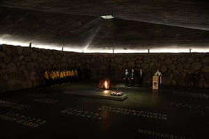 Jerusalem, Israel Russian Prime Minister Dmitry Medvedev attends a memorial ceremony at the Hall of Remembrance during his visit to the Yad Vashem Holocaust Memorial museum
