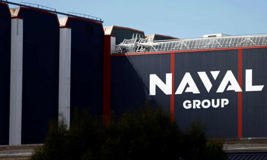 The logo of Naval Group is seen at the French naval base in the shipbuilding town of Cherbourg-en-Contentin, France.