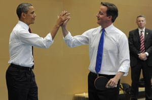 Barack Obama and David Cameron high-five