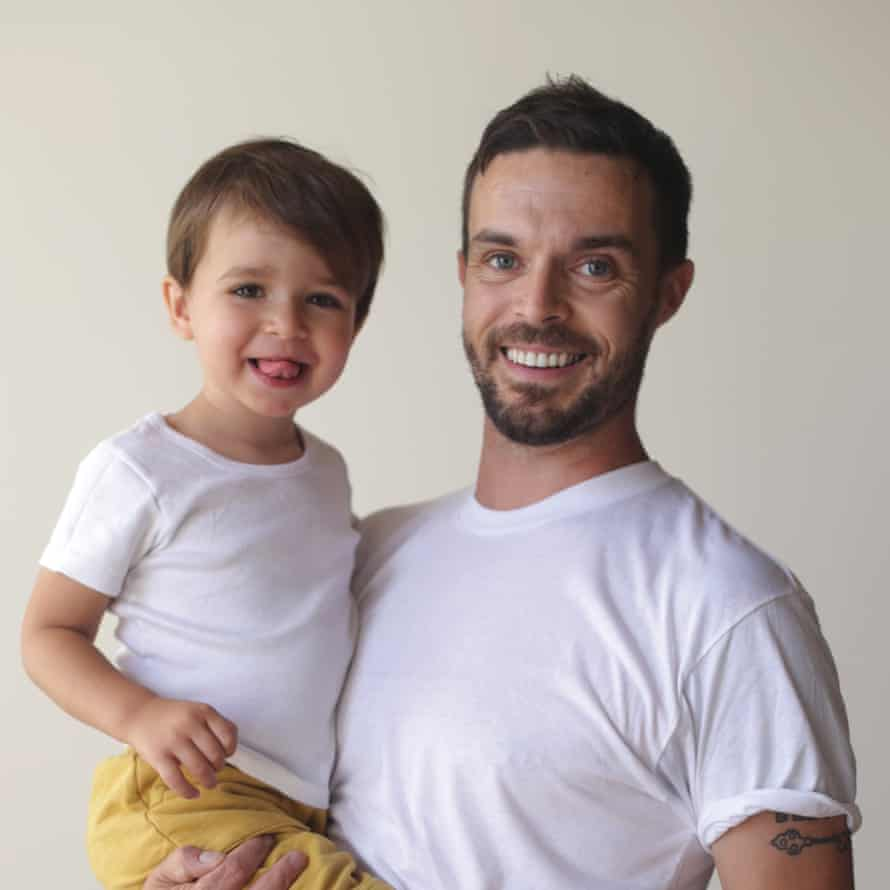 Oliver Jeffers and his son, Harland