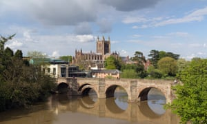 The Old Wye Bridge over the river Wye with Hereford Cathedral