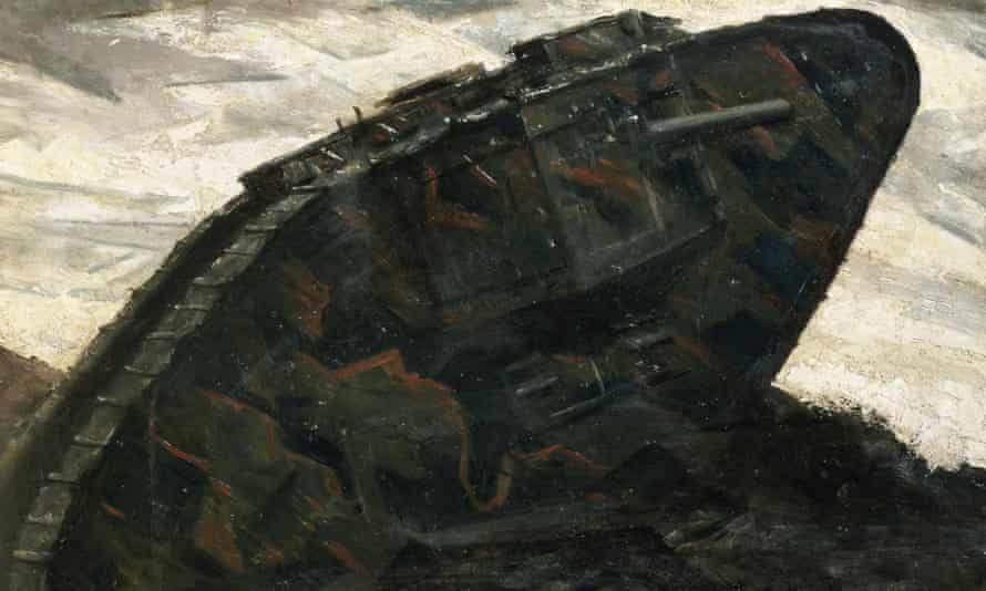 Detail from A Tank (1917) by the war artist Christopher Nevinson.