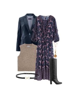 Jo Jones, fashion editor: 'Wear with a sleeveless knit.' Dress, £110, hush-uk.com. Knit, £19.99, mango.com. Blazer, £69, marksandspencer.com. Necklace, £250, alighieri.co.uk. Belt, £27, stories.com. Boots, £295, russellandbromley.co.uk