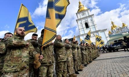 Ukraine-based Azov Battalion in Kyiv