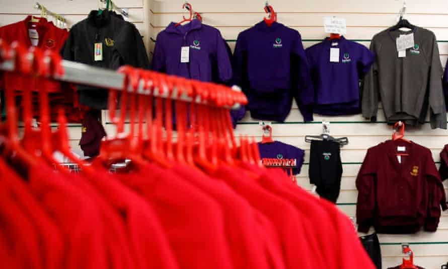 Clothes in a school uniform shop