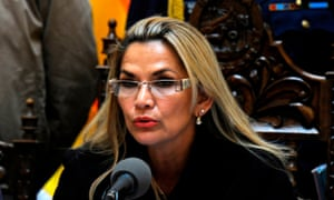 BOLIVIA-CRISIS-ANEZ-ELECTIONS<br>Bolivia's interim president Jeanine Anez speaks during a press conference to announce that the Senate approved a bill that could open the door to new elections without ex-president Evo Morales, as the caretaker government prepared to meet with protesters to end weeks of unrest, in La Paz on November 23, 2019. - Anez rejected an attempt by opposition senators to grant Evo Morales amnesty, a day after the country's ex-leader was accused of sedition and terrorism. (Photo by JORGE BERNAL / AFP) (Photo by JORGE BERNAL/AFP via Getty Images)