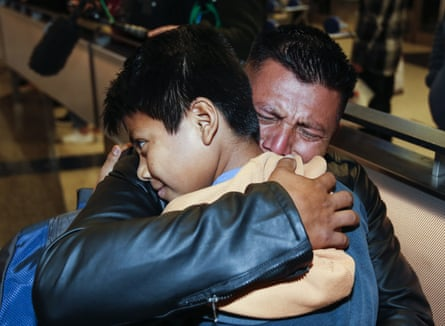 David Xol-Cholom, of Guatemala, reunited with his son Byron after being separated about one and half year ago during the Trump administration's wide-scale separation of immigrant families.