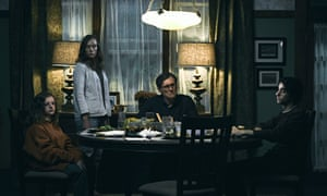 Milly Shapiro, Toni Collette, Gabriel Byrne and Alex Wolff in Hereditary.