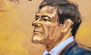 Courtroom sketch of accused Mexican drug lord Joaquín 'El Chapo' Guzmán during his trial in Brooklyn federal court in New York, on 31 January.