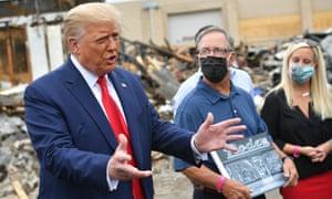 Donald Trump speaks to the press in Kenosha, Wisconsin on 1 September 2020.
